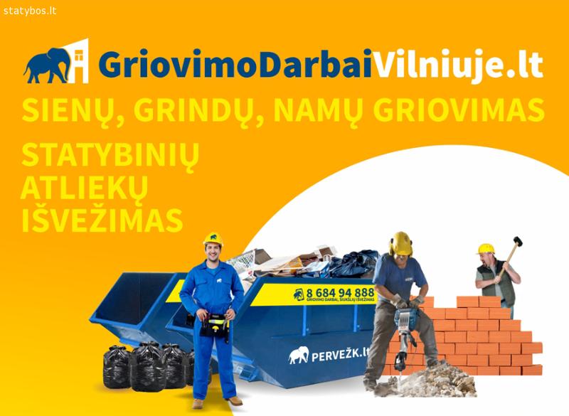 Griovimo darbai Vilniuje. Statybinių atliekų išvežimas.